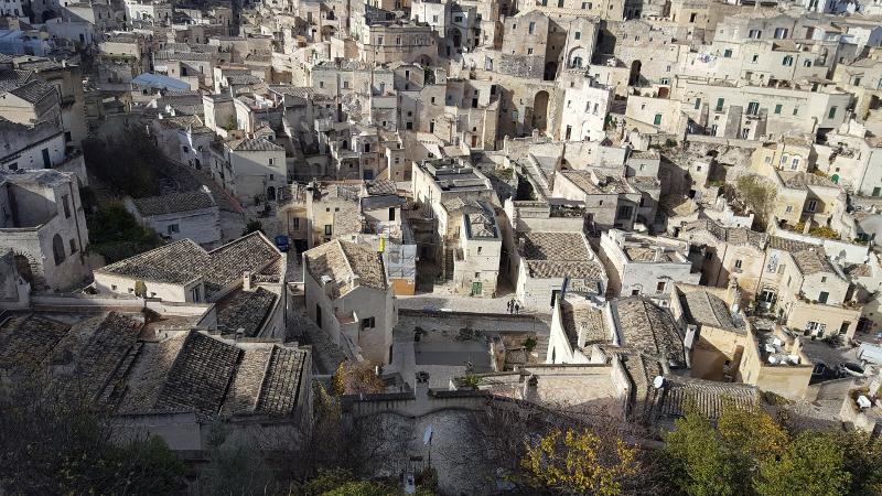 Blick hinab auf Matera, Basilikata