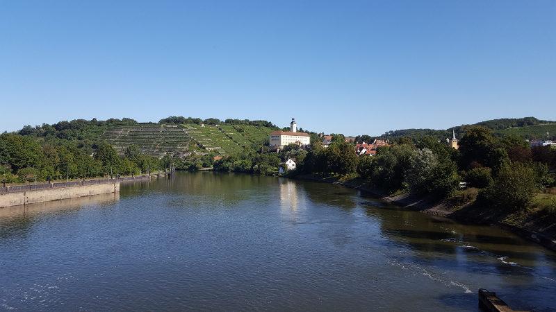 Blick auf Schloß Horneck in Gundelsheim am Neckar